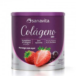 Colágeno Skin Morango/ açaí 300 g  Sanavita